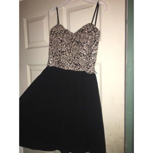 black and champagne short homecoming dress